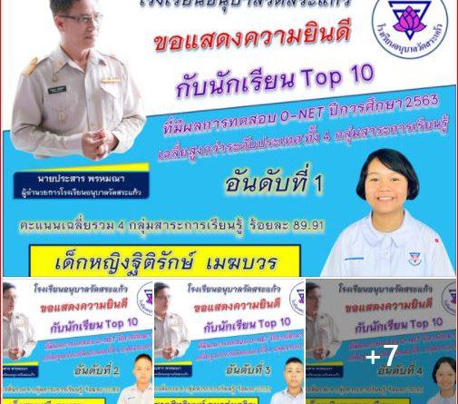 ขอแสดงความยินดีกับนักเรียน Top 10  ผู้ที่มีผลการทดสอบ O-NET ปีการศึกษา 2563 เฉลี่ยสูงกว่าระดับประเทศทั้ง 4 กลุ่มสาระการเรียนรู้